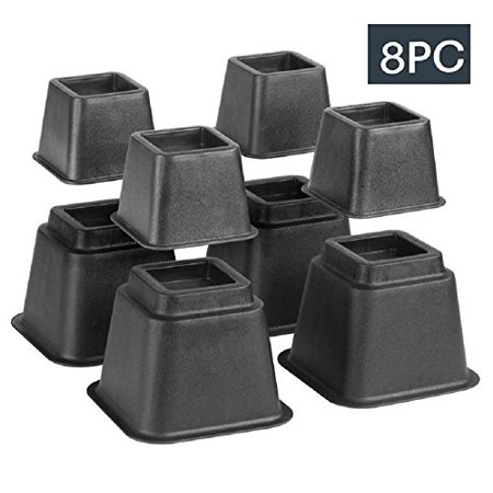 Bed Risers, Adjustable Heavy Duty, 8 Piece Set, 3 or 5 or 8 Inches Tall With Multi Height Function, For Any Bed Frame /Furniture / Table Riser & Lifts /College /Dorm /Room Accessories. By Katzco Computer Loft Bed Set