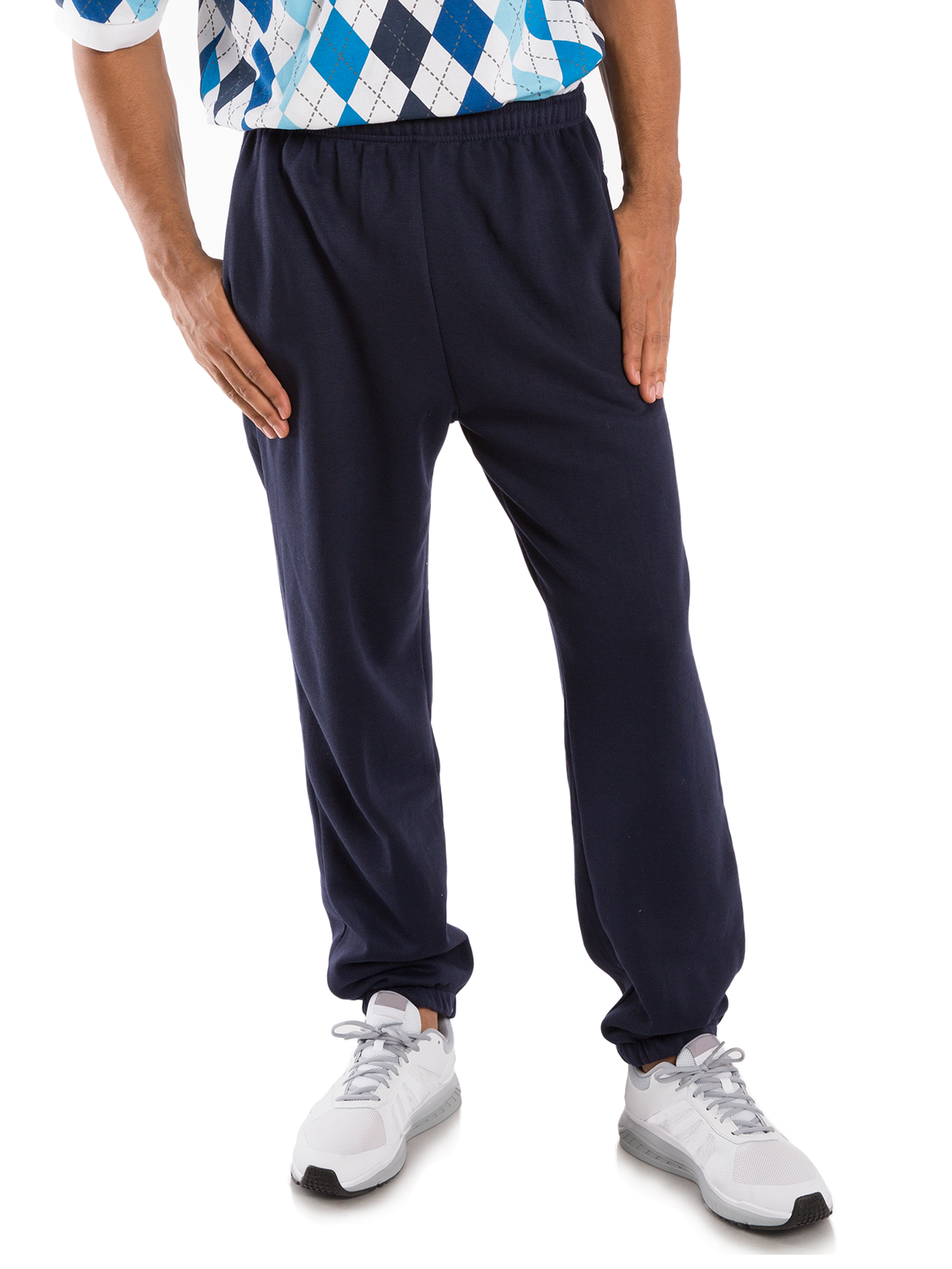 Vibes Men's Navy Fleece Active Jogger Pants Elastic Waistband Bottom