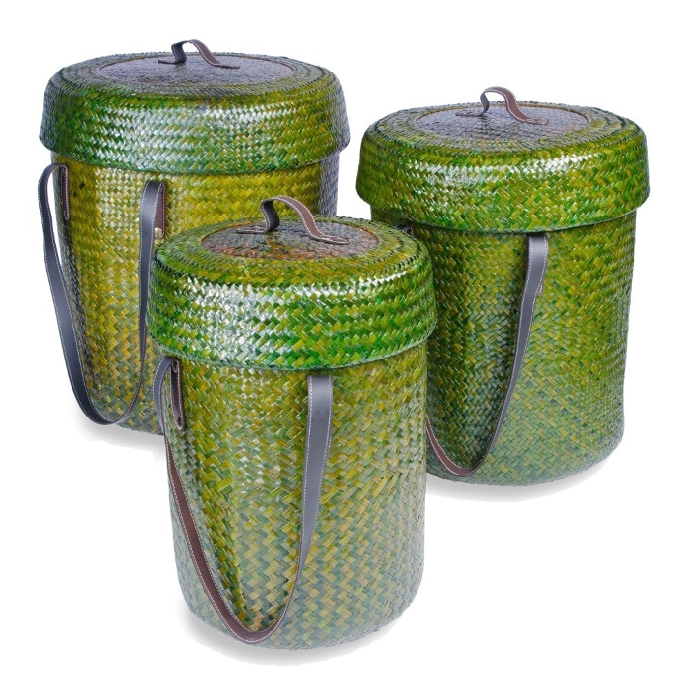 FOREIGN AFFAIRS HOME DECOR Forest Green Rattan Baskets (Set of 3)