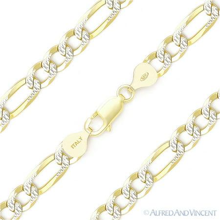 7mm Figaro Link D-Cut Pave Italian Chain Bracelet in .925 Sterling Silver w/ 14k Yellow Gold