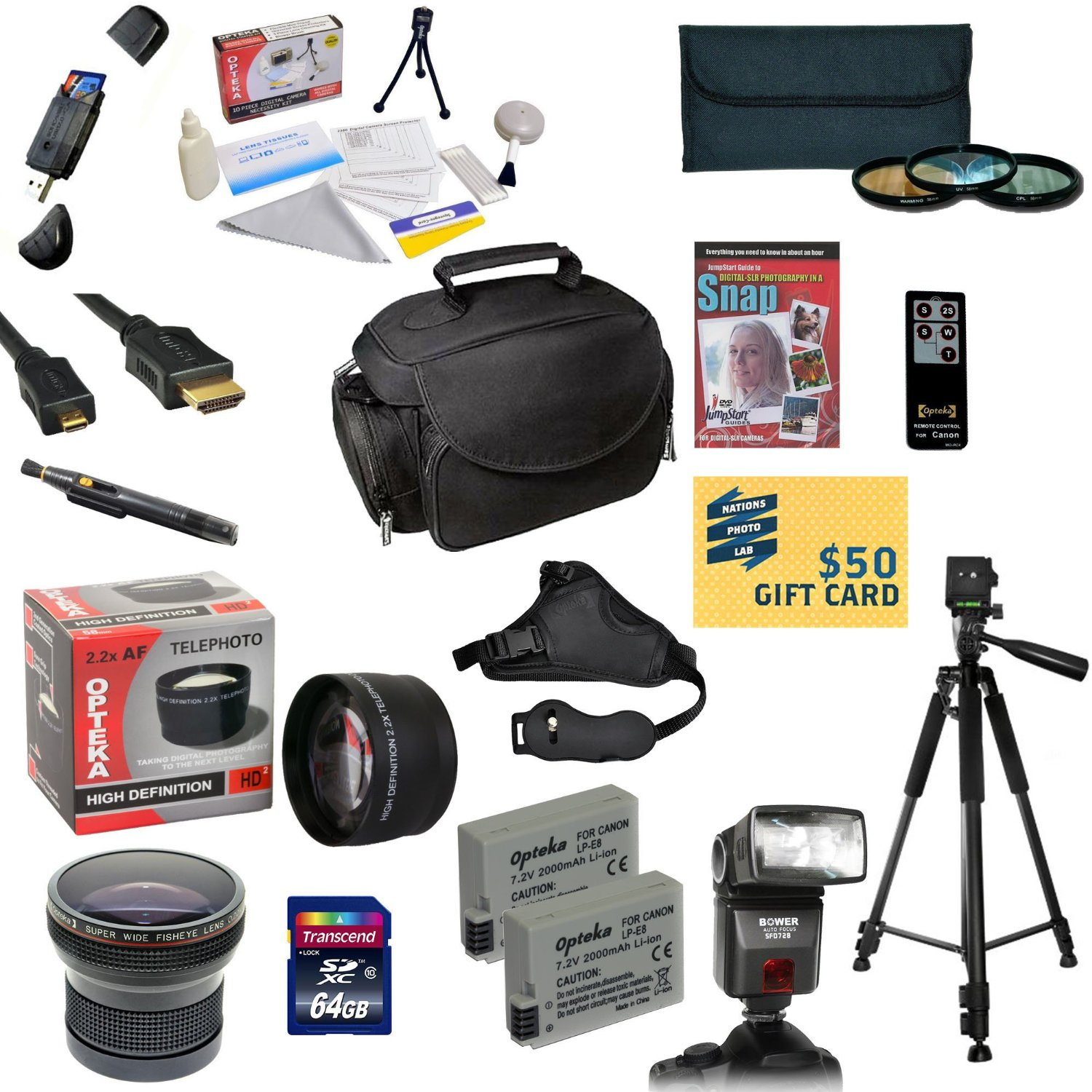 Pro Shooter Kit for Canon Rebel T2i T3i T4i T5i DSLR Camera Includes 64GB SDXC Card + 2 Batteries + Charger + 0.43x + 2.2x Lens + 3 Piece Filters + Gadget Bag + Tripod + DSLR DVD + $50 Gift Card +More