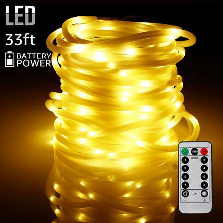 TORCHSTAR 33ft 100 LEDs String Lights, Waterproof Outdoor LED String Lights, Warm White