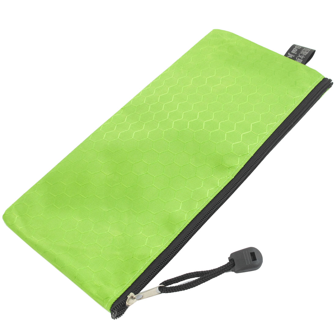 Unique Bargains PVC Canvas Zipper Closure Pencil Writing Instruments Bag Holder Green