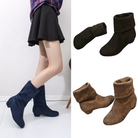 Mupoo Autumn Winter Women Flat Heel Mid Calf Faux Suede Shoes Boots Casual Shoes New