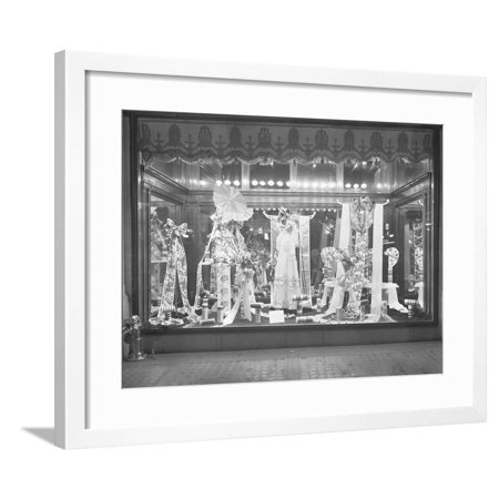 Window Display of Ribbons, Gimbel's Department Store, New York City, March 10, 1915 Framed Print Wall Art By William Davis - Halloween Window Displays New York