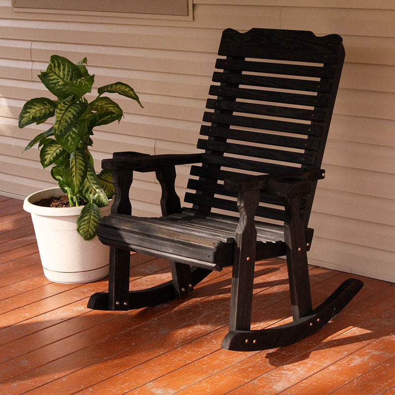 Amish Heavy Duty 600 Lb Classic Pressure Treated Rocking Chair With Cupholders (Semi-Solid Black Stain)