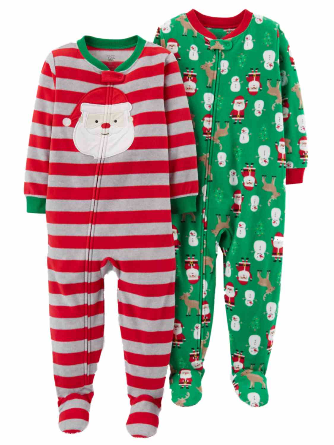 Carters Infant Boys 2 Christmas Sleepers Set Santa Claus & Reindeer Pajamas  - Size - 12 Months