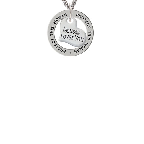 Small Jesus Loves You Heart Protect This Woman Affirmation Ring Necklace