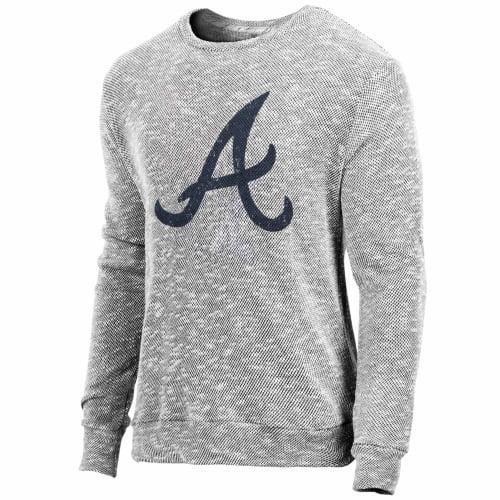Atlanta Braves Majestic Threads Tri-Yarn Long Sleeve Crew T-Shirt - Gray