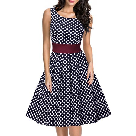 MISSMAY Women's Vintage Cut Out Polka Dot 1950'S Bridesmaid Swing Dresses for Women (Navy Blue XL) (Heart Cut Out Wedding Dress)