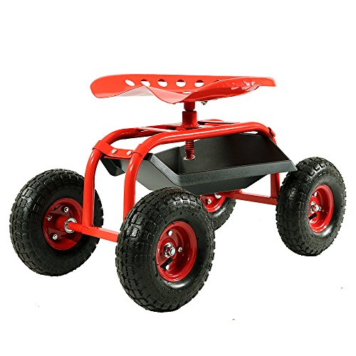 Sunnydaze Rolling Garden Cart with 360 Degree Swivel Seat & Tray - Color Options - RED