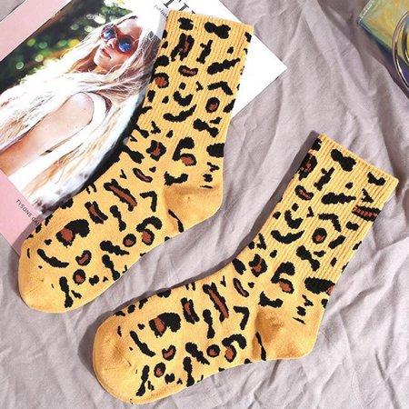 Women High Socks Cottons Blends Leopard Print Autumn Winter Personality Sports Warm