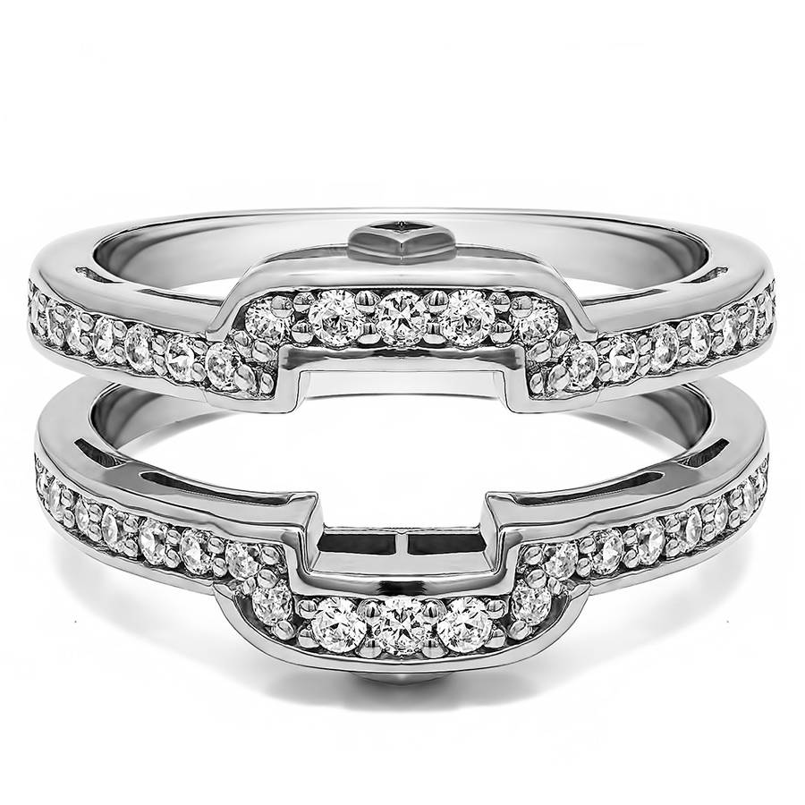 Personalized TwoBirch Womens Square Halo Style Wedding Ring Guard