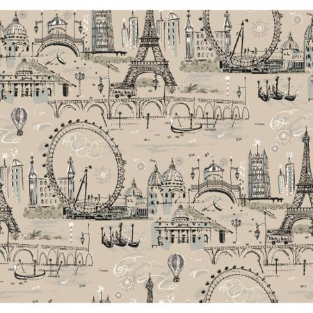 York Wallcoverings BL0438 Beige Book Novelty Euro Scenic Wallpaper