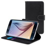 Snugg Black TPU Leather Samsung Galaxy S6 Flip Case