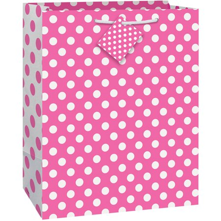 Hot Pink Polka Dot Gift Bag, 12.75