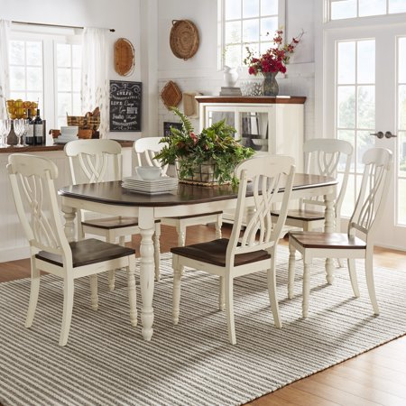 weston home two tone 7 piece dining set antique white. Black Bedroom Furniture Sets. Home Design Ideas