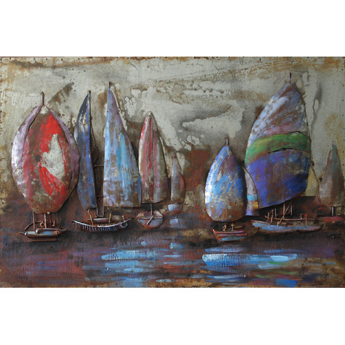 Empire Art Direct ''The Regatta 2'' Mixed Media Iron Hand Painted Dimensional Wall D cor