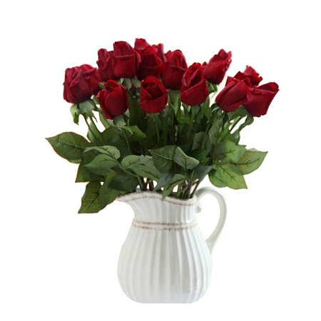 Artificial Roses, 10pcs Red Real Looking Fake Roses for Wedding Bouquets Centerpieces Party Baby Shower