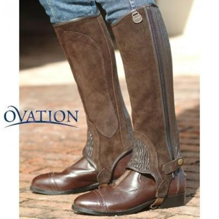 (Ovation - Child Suede Ribbed Half Chaps , Black , C16-18)