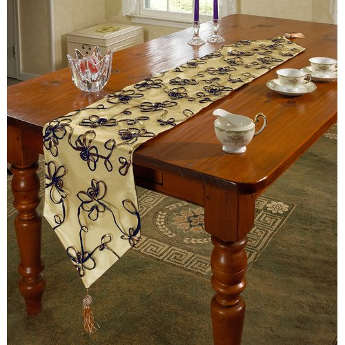 Violet Linen Venetian Vintage Embroidered Floral Table Runner