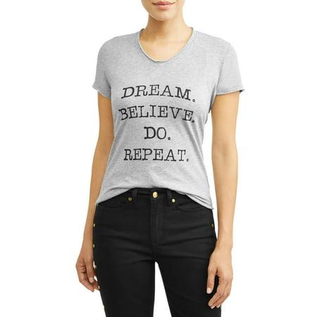 Dream Believe Do Short Sleeve V-Neck Graphic T-Shirt Women