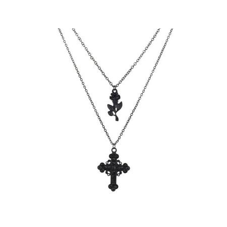 Lux Accessories Black Multi Strand Cross Rhinestone Roses Flower Chain - Multi Strand Flower
