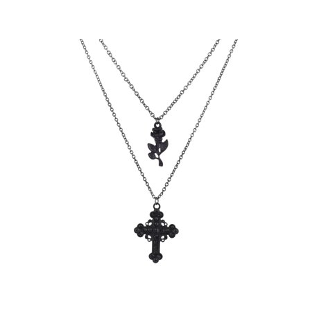 Lux Accessories Black Multi Strand Cross Rhinestone Roses Flower Chain - Multi Strand Cross