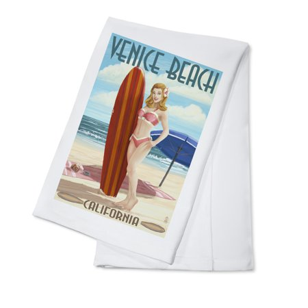 Venice Beach, California - Pinup Surfer Girl - Lantern Press Poster (100% Cotton Kitchen (Venice Beach Girl)