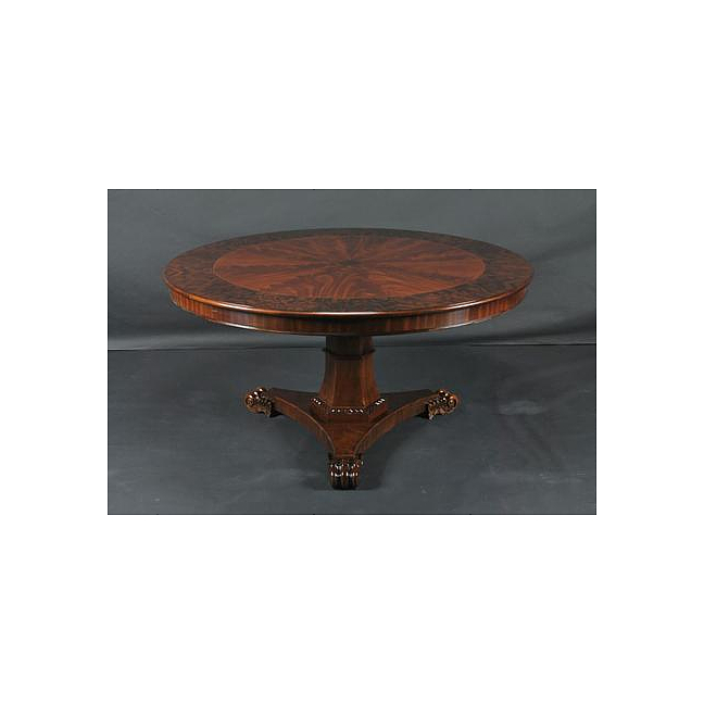5Ft Round Flame Mahogany   Satinwood Crossbanded Pedestal Dining Table w  Tripod Base by Three Dog Circus
