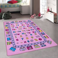 """Allstar Pink Kids / Baby Room Area Rug. Learn ABC / Alphabet Letters Numbers with a Train Bright Colorful Vibrant Colors (3' 3"""" x 4' 10"""")"""