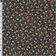 Black/Berry Little Aster Floral Print Chiffon, Fabric By the Yard