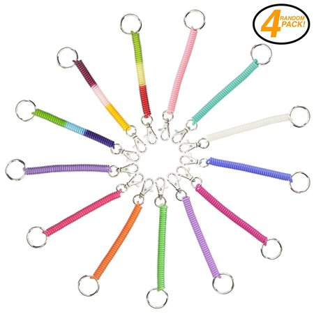 Ram-Pro Spiral Retractable Spring Coil Keychain - Colorful Flexible Hanging Stretch Cord Pocket Key Chain with Snap on Clip Hook (Pack of 4)