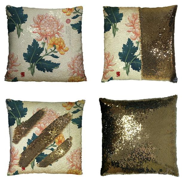 Eczjnt Branch Japanese Chrysanthemum Flowers Embroidery Autumn Garden Pillow Case Home Decor Cushion Cover 18x18 Inch Walmart Com Walmart Com