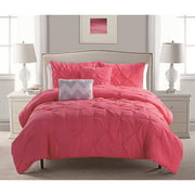 VCNY Pink Jana Pintuck Reversible Chevron Bedding Comforter Set, Decorative Pillows Included