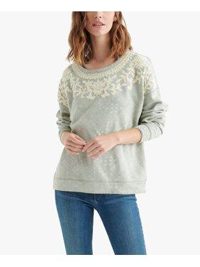 Lucky Brand | Chenille Print Pullover Sweatshirt | Green