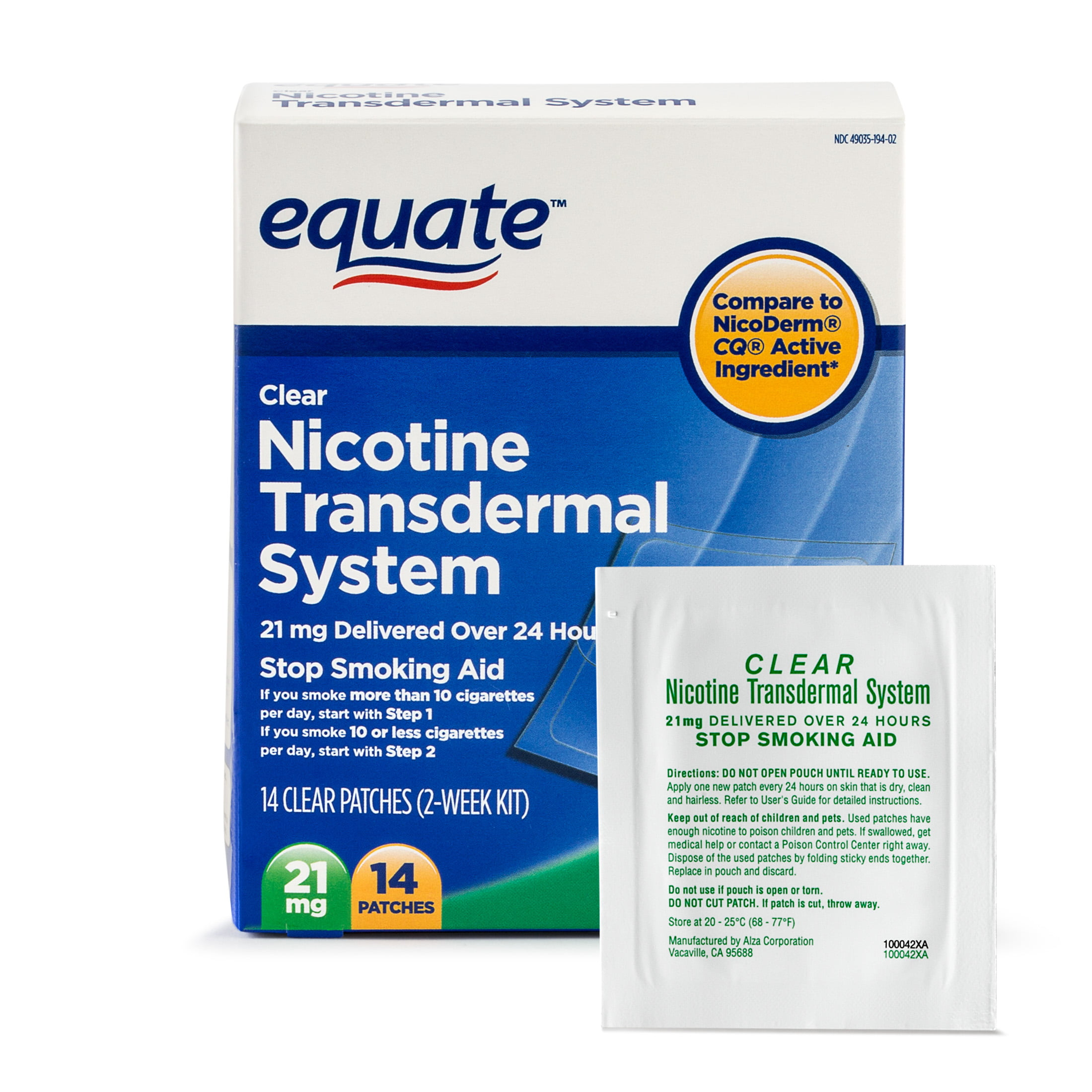 Equate Nicotine Transdermal System Step 1 Clear Patches, 21 mg, 14 Ct -  Walmart.com