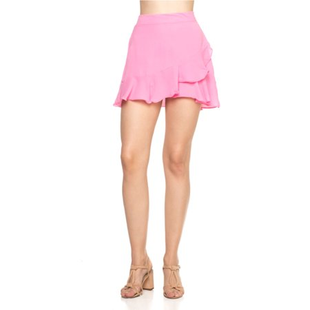 OFASHIONUSA Women's Mid Waist Above Knee Asymmetrical Ruffle Hem Overlap (Asymmetrical Ruffled Skirt)