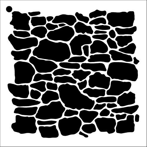 "Stone Wall Stencil by StudioR12 | Repeating Pattern Art - Medium Reusable Mylar Template | Painting, Chalk, Mixed Media | Use for Crafting, DIY Home Decor - STCL1019 SELECT SIZE (12"" x 12"")"