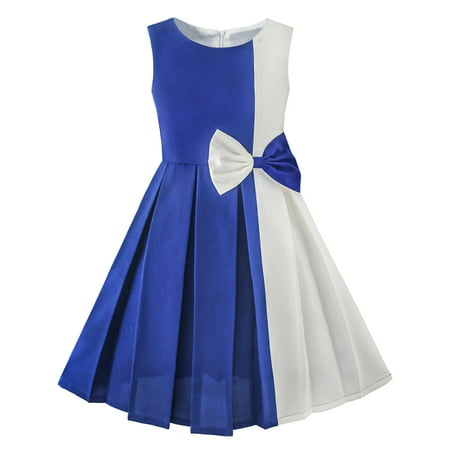 Girls Dress Color Block Contrast Bow Tie Everyday Party 4 - Colonial Dress For Girls