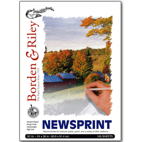 "Borden & Riley - #NNP Novel Newsprint Paper Pad - 11"" x 14"" - 100 Shts./Pad"