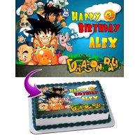 "Dragon Ball Goku Krillin Bulma Piccolo Edible Cake Image Topper Personalized Picture 1/4 Sheet (8""x10.5"")"