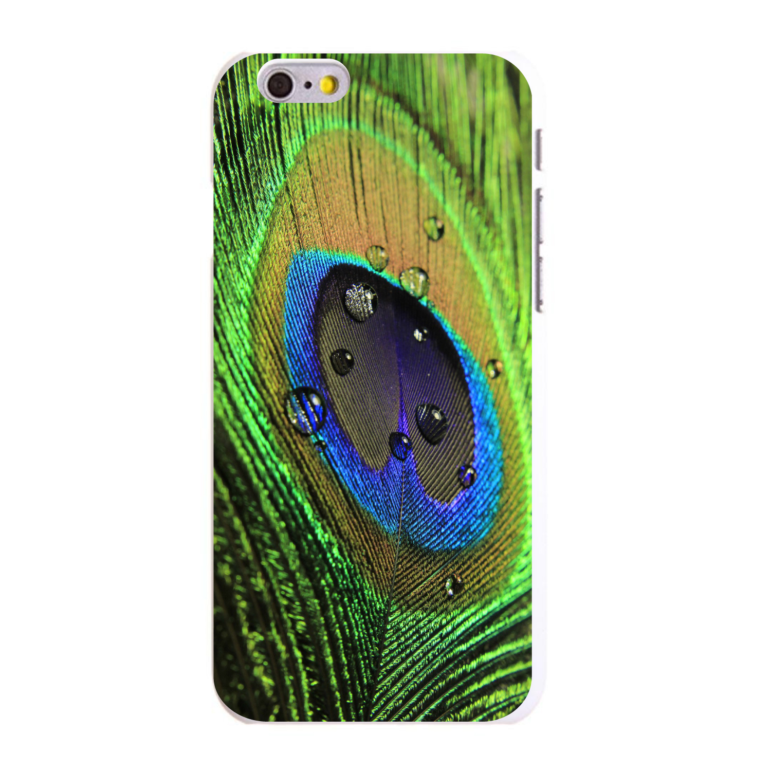 """CUSTOM White Hard Plastic Snap-On Case for Apple iPhone 6 PLUS / 6S PLUS (5.5"""" Screen) - Peacock Feather Close Up"""