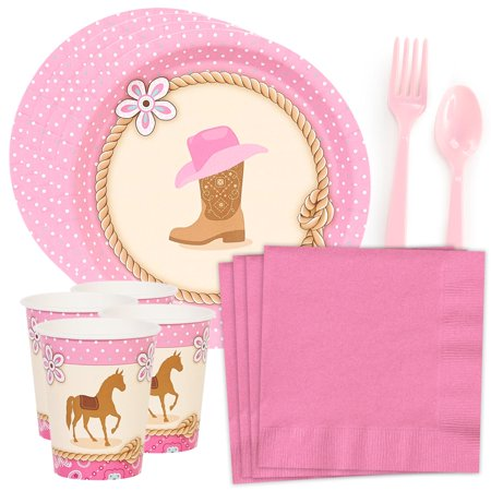 Western Cowgirl Party Standard Tableware Kit (Serves - Party City Cowgirl Costume