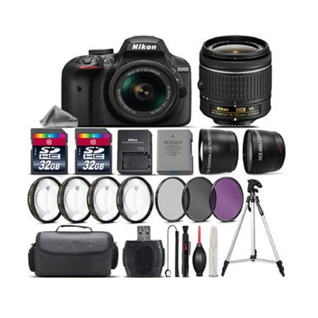 Nikon D3400 DSLR Camera with 18-55mm VR Lens + 4PC Macro Kit + UV-CPL-FLD + 64GB