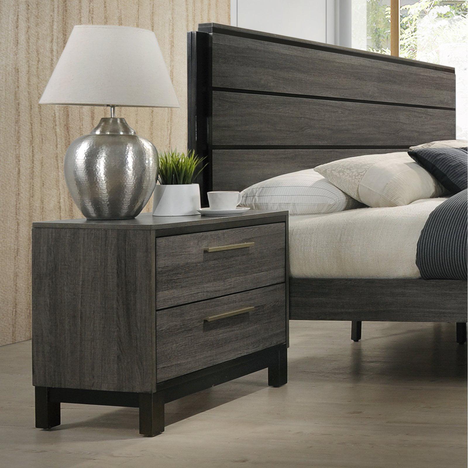 Antique Grey Roundhill Furniture B187N Loana Wood 2-Drawer Nightstand