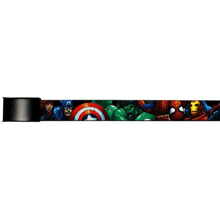 Avengers Marvel Comics Superheroes Attack Collage Web Belt Chrome