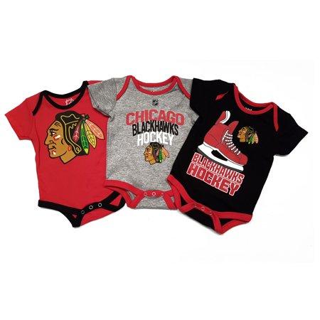 online retailer fe4cf e85f3 Chicago Blackhawks NHL Baby Hat Trick 3-pc Creeper Set - NHL Team Apparel