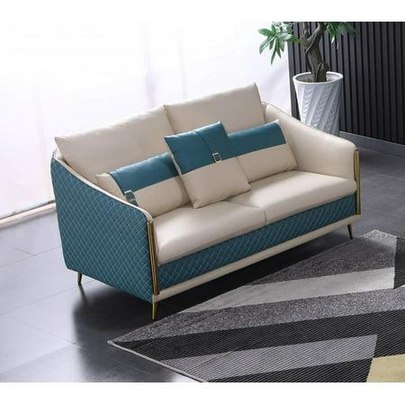 Italian Leather Off White & Blue Loveseat ICARO EUROPEAN FURNITURE Modern