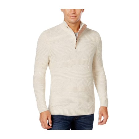 Tasso Elba Mens Quarter Zip Knit Sweater sesamehtr M - image 1 of 1